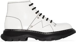 Tread lace-up leather boots - White