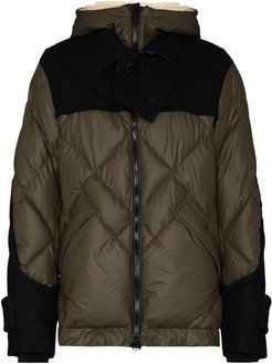 Melton quilted puffer jacket - Green