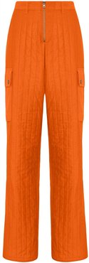 Quilted baggy trousers - ORANGE