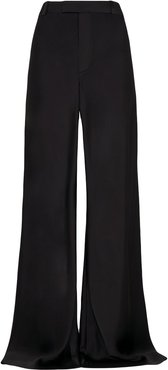 wide satin trousers - Black