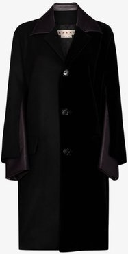 Faux leather panelled wool coat