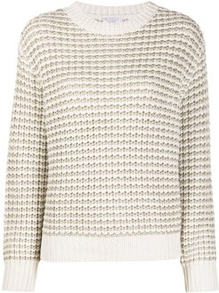metallic chunky-knit jumper - Neutrals