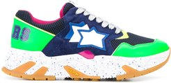 star patch colour block sneakers - Green