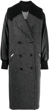 double-breasted panelled coat - Black