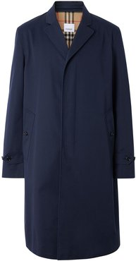 concealed-fastening single-breasted coat - Blue