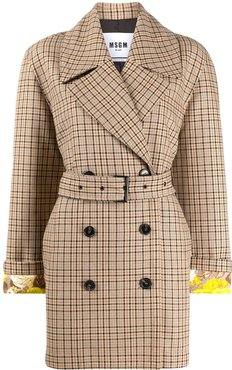 checked belted coat - Brown