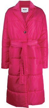 belted single-breasted padded coat - PINK