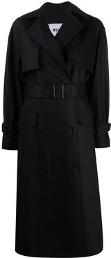 double-breasted belted trench coat - Black