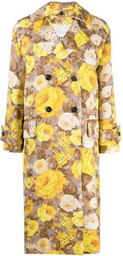 floral pattern trench coat - Neutrals