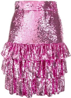 sequinned ruffled mini skirt - PINK