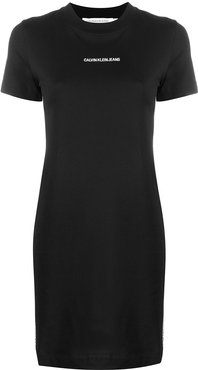 embroidered logo T-shirt dress - Black
