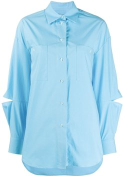 cut-out detail shirt - Blue