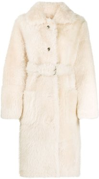 belted shearling coat - Neutrals