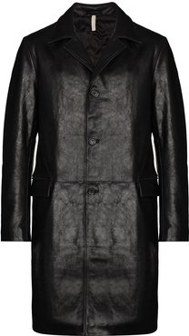 single-breasted long jacket - Black