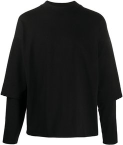 layered long-sleeve top - Black