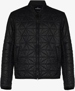 geometric quilted bomber jacket