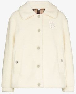 monogram motif shearling jacket