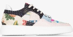 multicoloured patchwork low top leather sneakers