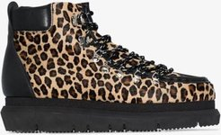black leopard print leather hiking boots