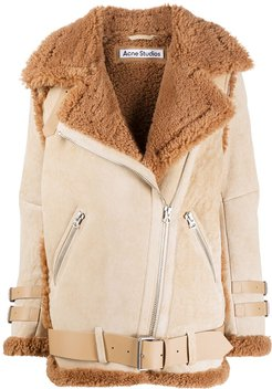belted shearling jacket - Brown