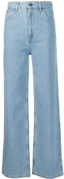 high-waist straight jeans - Blue