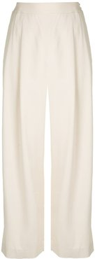 jewel button cropped palazzo trousers - White