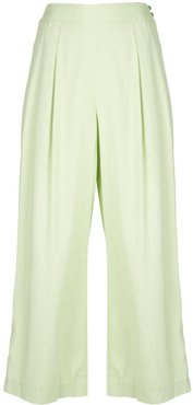 jewel button cropped palazzo trousers - Green
