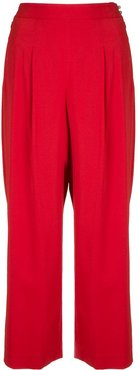 jewel button cropped palazzo trousers - Red
