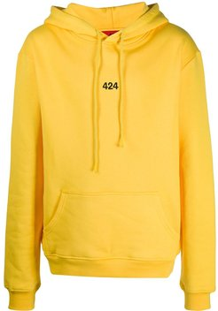 embroidered logo hoodie - Yellow
