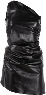 ruched one-shoulder mini dress - Black