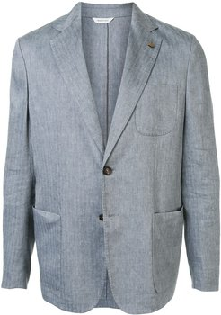 patch-pocket woven blazer - Grey