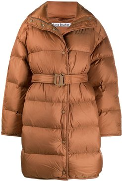 belted padded coat - Brown