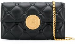 B logo quilted clutch - Black