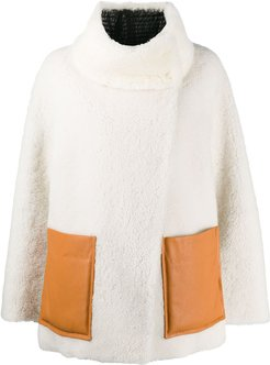 Curly Mix shearling jacket - White