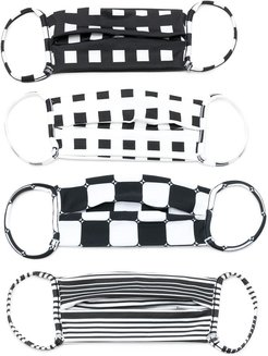 4 face masks set - Black