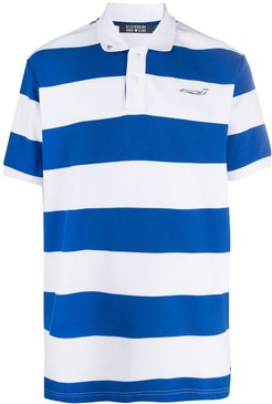 striped polo t-shirt - White