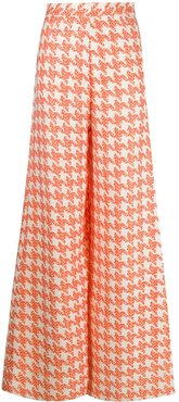 houndstooth tailored trousers - ORANGE