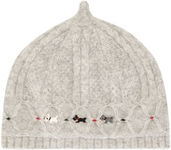 multi-knit embroidered hat - Grey