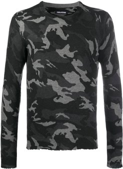 Kennedy camouflage-print sweater - Black