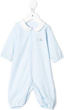 embroidered bear romper - Blue