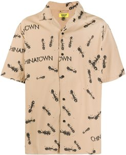 ant print short-sleeve shirt - Brown