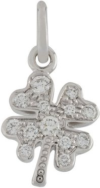 18kt white gold One In a Million four-leaf clover diamond pendant - SILVER