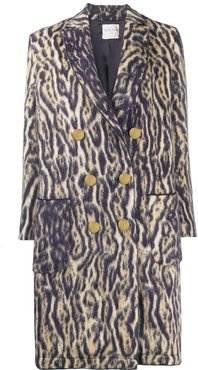 tiger print double-breasted coat - Neutrals