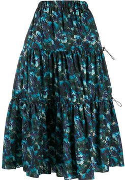 floral-print tiered skirt - Blue