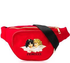 Angels logo print belt bag - Red