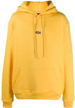 embroidered number hoodie - Yellow