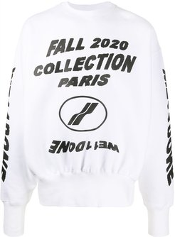 long sleeve graphic print sweater - White
