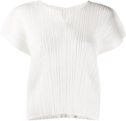 micro-pleated short-sleeve top - White