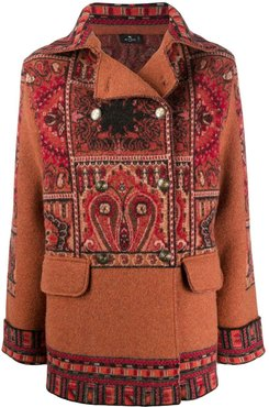 patchwork-print double-breasted coat - ORANGE
