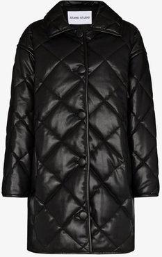 Jacey quilted faux leather coat